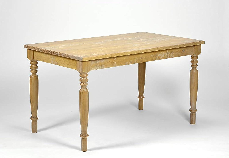 Naturholzmbel Seidel Esstisch Linda Antigo 140x80cm, Pinie Massivholz Tisch Honig, Tischbeine gedrechselt, rustikaler Vintage Look, für Esszimmer Wohnzimmer Büro oder Küche