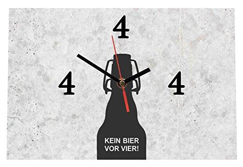 LAUTLOSE Designer Tischuhr Kein Bier vor vier grau Standuhr modern Dekoschild Bild 30 x 20cm