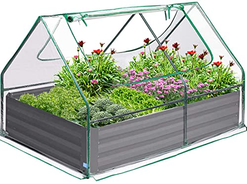 Quictent 4×3×1 Ft Extra-Thick Galvanized Steel Raised Garden Bed Planter Kit Box with Greenhouse 2 Large Zipper Windows Dual Use, 20pcs T-Types Tags & 1 Pair of Gloves Included (Clear)