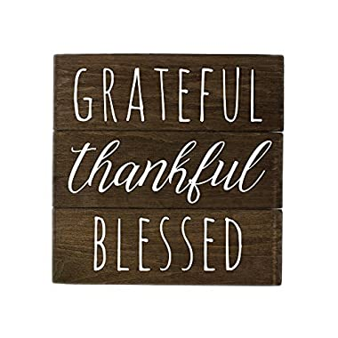 Elegant Signs Grateful Sign Wall Decor with Thankful Blessed by Made in USA