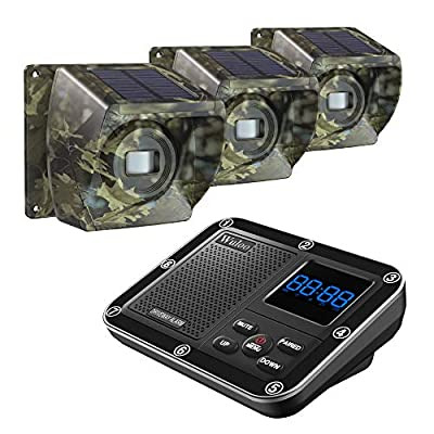 Solar Driveway Alarm Wireless Outside 1800ft Range, Outdoor Motion Sensor & Detector Driveway Alert System with Rechargeable Battery/Weatherproof/Mute Mode (1&3-Camouflage)
