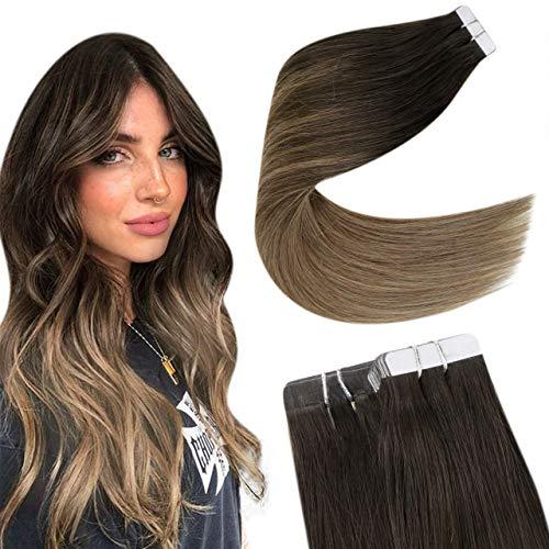 Easyouth Tape in Hair Extensions Balayage Couleur Brun Foncé Passant au Brun Clair Glue on Hair Extensions Vrais Cheveux Humains Extensions de Cheveux 12pouce 30g 20Pcs