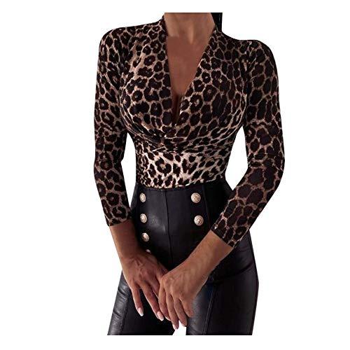 Okseas Damen 2021 Herbst und Winter Neue Leopard Pullover, V-Ausschnitt Bedrucktes Mode Trend Sexy Lässig Shopping Party Schlank und eng Tunic Top Bluse Oberteile Tunika