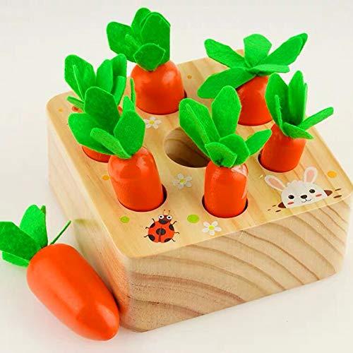 Coriver Juguetes educativos, Juegos apilables para bebés de 1 2 3 años, Zanahorias, Juguetes de Madera, Juguetes de taponamiento Montessori, Juego de Cosecha para niños