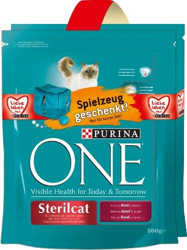 ONE Sterilcat Rind 2 x 800g kattenvoer van Purina met gratis pluche dobbelsteen 4-pack (4 x 1,6 kg)