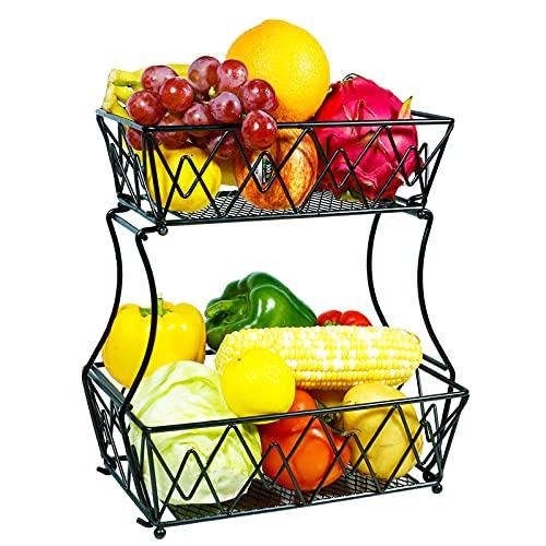 Frutero 2 pisos, Fruteros de cocina modernos, Cesta de frutas y vegetales de metal, Frutero multifuncional de hierro, panera para más espacio en la encimera