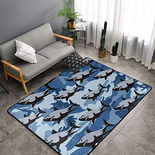 Alfombra de área Ultra Suave de Lujo Alfombra Rectangular Alfombra Alfombrillas Antideslizantes Decoración del hogar para sofá Sala de Estar Dormitorio Oficina - 60 x 39 Pulgadas - Blue Camo Shark