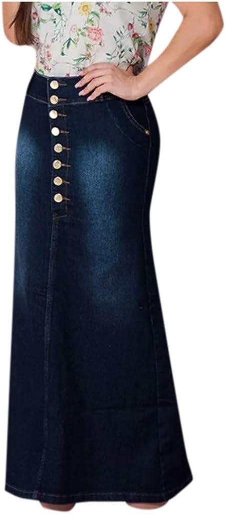 lkjh 2021 Women Casual Front Button Washed Denim A-Line Skirts Comfort Long Jean Skirt