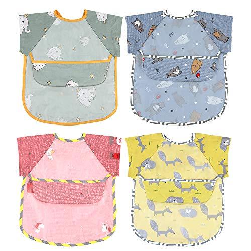 Lictin Baberos Bebes Impermeable- 4 PCS Baberos con Mangas Impermeable con Escote Ajustable para Bebes, Cómodo y Transpirable, para Bebes de 0-24 Meses