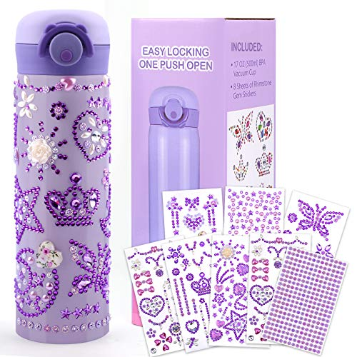 HULASO Gifts for 7 Year Old Girls Decorate Your Own Water Bottles with Tons of Rhinestone Glitter Gem Stickers - DIY Gifts Arts and Crafts, BPA Free Stainless Steel Vacuum Insulated Mug (17 OZ)