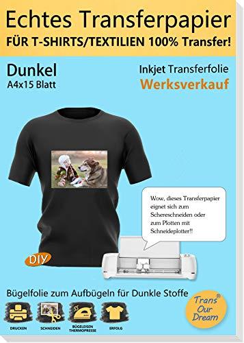 TransOurDream Echte Inkjet Transferfolie,Bügelfolie für Dunkle Textilien,DIN A4X15 Blatt,T-Shirt Papier für Tintenstrahldrucker für dunkle T-Shirts,BedruckbareTransferpapier, Vinyl Folie(3-15)