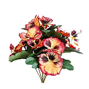 Fghuim Creative Home Furnishing Simulation Plant Artificial Flowers Imitation Pansy Silk Flowers for Wedding Home Outdoor Cemetery Party Decoration 26CM