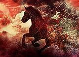 VLIES Fototapete-FANTASY HORSE-300x223 cm-6 Bahnen-(20597)-Inkl. Kleister-EASYINSTALL-PREMIUM-Athen Pferde Pony Pegasus Art Fantasiewelt Unicorn Deko Drache Eragon Reiter Ritter Kinder Rot