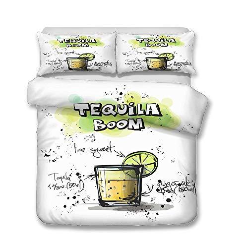 Juego de cama de franela con diseño de taza de helado y bebidas frías, de tres piezas, para invierno, (A2, 135 x 200 cm + 50 x 75 cm x 2)