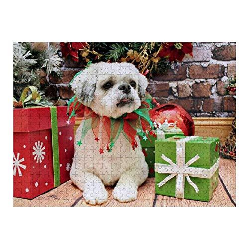 Hunnry Christmas Shih tzu Teddy Rompecabezas de 1000 Piezas para Adultos y familias, Rompecabezas clásico con Motivos Finos, colección de Arte, 50 x 75 cm