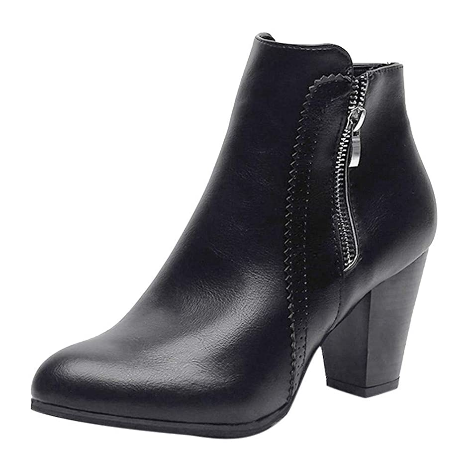 Londony ??? Clearance Sales,Block Mid Heels Boots for Women's Winter Fashion Zip Up Point Toe Ankle Booties