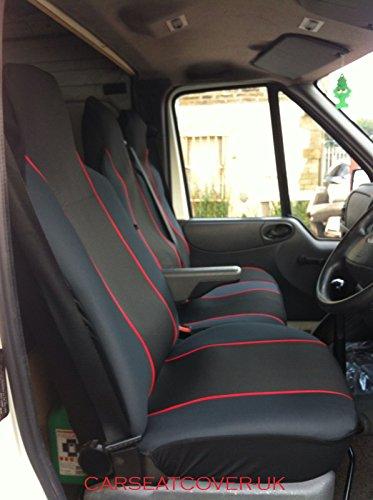 Carseatcover-UK - Fundas de asiento, resistentes, para furgoneta, con ribete negro y rojo (ajuste universal), individual + doble