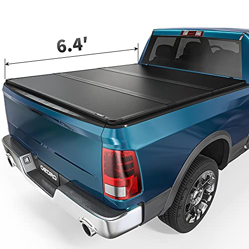 oEdRo Hard Tri-fold Truck Bed Tonneau Cover Compatible with 2002-2021 Dodge Ram 1500 (19-21 Classic & New) ; 2003-2021 Dodge Ram 2500 3500, 6.4 ft Bed w/o Rambox