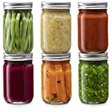 Glass Regular Mouth Mason Jars, 12 Ounce Glass Jars with Silver Metal Airtight Lids for Meal Prep,...