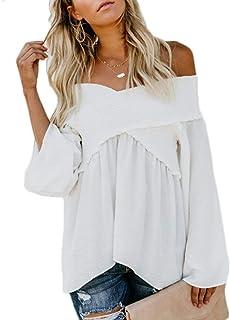 c68c3f2f9d9424 LAIKETE Pullover Spalla Scoperta Donna Eleganti Moda Camicia Lunga Vestito  Poncho Invernale Maglia Irregolare Blusa Asimmetrico