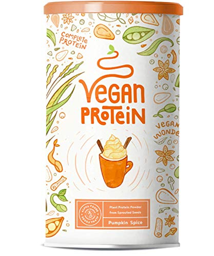 Vegan Protein PUMPKIN SPICE - Pflanzliches Proteinpulver aus gesprossten Reis, Erbsen, Chia-Samen, Leinsamen, Amaranth, Sonnenblumen- und Kürbiskernen - 600 Gramm Pulver