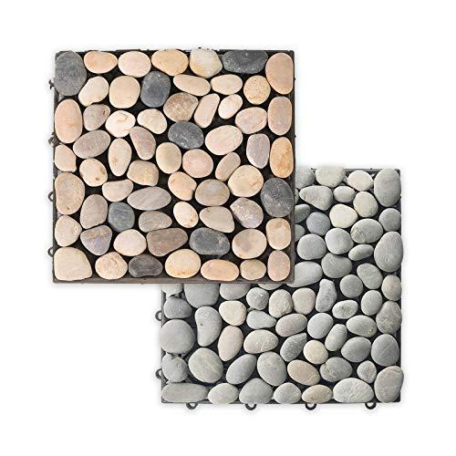 Home Deluxe - Naturstein Terrassenfliese - Grau Mix - 1 m² - 11 Fliesen á 30 x 30 cm - verschiedene Farben