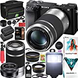 Sony a6100 Mirrorless Camera 4K APS-C ILCE-6100YB S 2 Lens Kit 16-50mm + 55-210mm Silver Bundle with Deco Gear Case + Extra Battery + Flash + Wide Angle & Telephoto Lens + Filter Set 64GB Accessories
