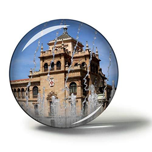 Hqiyaols Souvenir Museo Nacional de Escultura de España Valladolid Imanes Nevera Refrigerador Imán Recuerdo Coleccionables Viaje Regalo Circulo Cristal 1.9 Inches
