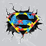 Enigma Design Company Superman Style Autism Awareness Breaking Out White Vinyl Nontransparent Decal Sticker 9'