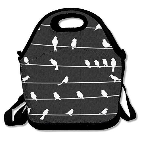 Jacklee witte vogel op draad lunchtas voor mannen vrouwen kinderen - beste reistas