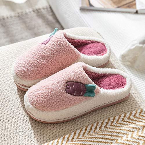 XZDNYDHGX Plush House Slippers,Winter Slippers Radish Shoes, Women Wool Female Home House Shoe For Boys Girls Room Slipper Purple UK 4.5-5