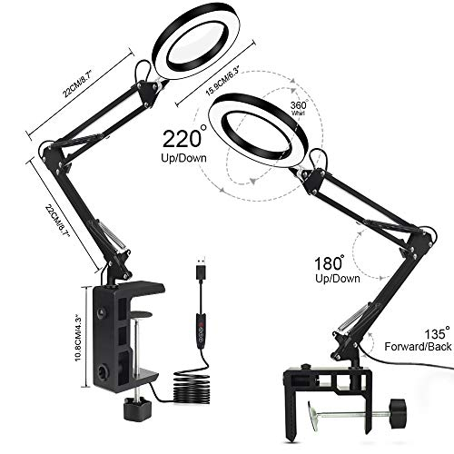 LED Magnifying Lamp with Clamp, NEWACALOX Dimmable Super Bright 3 Colors Illuminated Magnifier Lamps, 5X Magnifier Glass Light Lens, Adjustable Swivel Arm lamp for Table Craft or Workbench (Short)