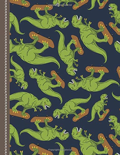 Notebook: Dinosaur on Skateboard Pattern Cover / College Ruled 8.5x11 Letter Size / 120 Blank Lined Pages for School / Work / Journaling / Writing / Note Taking