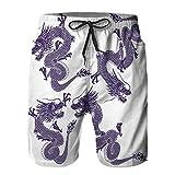 Hombres Verano Secado rápido Pantalones Cortos Playa Dragón japonés de Porcelana Azul y Blanca...
