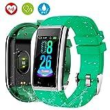 Orologio Fitness Tracker, HOLALEI 1,14' Bluetooth Smartwatch Uomo Donna Impermeabile IP67 Braccialetto Cardiofrequenzimetro da Polso Pressione Sanguigna Pedometro per iOS Andriod iPhone (Nero)