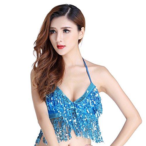 Qlan Belly Dance Bra Top Perline Colorate con Paillettes per Danza del Ventre Vestiti da Ballo