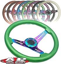 AJP Distributor Universal 345mm 6 Bolt Hole Deep Dish Streak Style Neo Chrome Center Wood Grain Trim Handle Steering Wheel Blank Horn Button JDM Euro VIP Racing Track Drift Drag (Green)