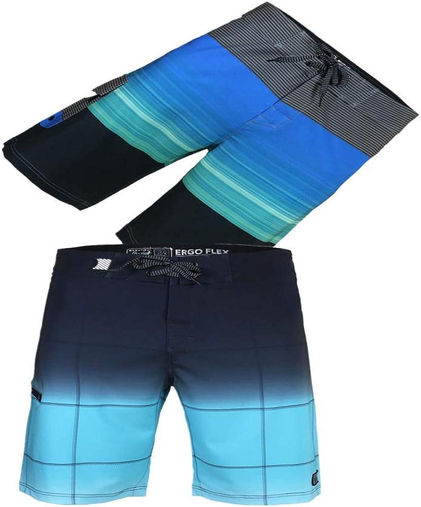 BG 2-Pcs Pack Men's Design Pocket Hawaiian Hot Pink Bath Suite Stripe Texture Boardshorts