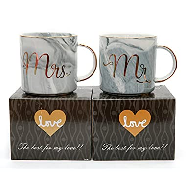 Luspan Mr and Mrs Couples Coffee Mugs - Unique Wedding Gift for Bride and Groom - Gift for Bridal Shower Engagement Wedding and Married Couples - Ceramic Marble Cups 13 oz
