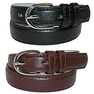 CTM Kid's Basic Leather Dress Belt (Pack of 2 Colors), Xlarge, Black and Brown