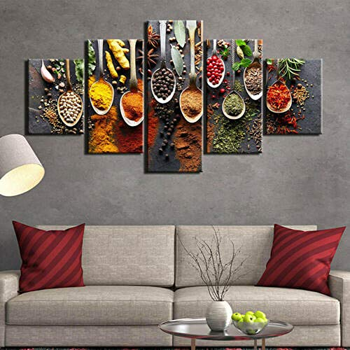 Lienzo 5 Piezas Cuchara de especias de comida de cocina Lienzos Decorativos Cuadros Grandes Baratos Cuadros Decoracion Cuadros Para Dormitorios Modernos Cuadros Decoracion Regalos Personalizados