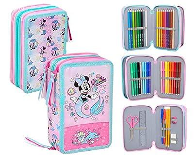 Disney Minnie - Estuche triple relleno, 44 accesorios escolares, 20 centímetros de Disney