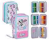 Disney Minnie Trousse triple remplie 44 accessoires école 20 cm