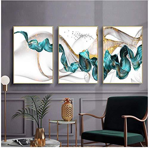 Refosian Nordic Abstract Color Splash Azul Dorado Pinturas artísticas y decoración impresa Cuadros artísticos de pared para sala de estar 60x80cm / 23.6x31.4 en Sin marco