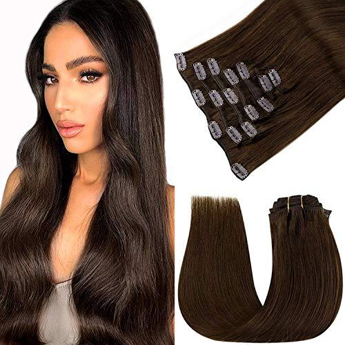 Extension A Clip Cheveux Naturel Long - LaaVoo Extension Clip Naturelle Marron Foncé Clip Hair Extension Cheveux Naturel A Clip Double Wefts Extension Cheveux Clip Marron 7PCS/120G 22Pouce