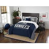 3 Piece MLB Yankees Comforter Full Queen Set, Baseball Themed Bedding Sports Patterned, Team Logo Fan Merchandise Athletic Team Spirit Fan, Blue Grey, Polyester