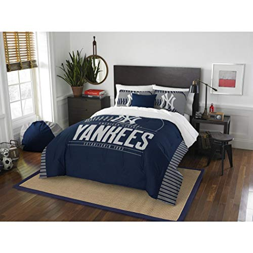 3 Piece MLB Yankees Comforter Full Queen Set, Baseball Themed Bedding Sports Patterned, Team Logo Fan Merchandise Athletic Team Spirit Fan, Blue Grey, Polyester