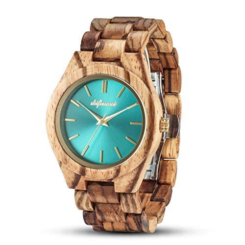 shifenmei - Reloj de madera para mujer, ligero, hecho a mano, personalizado, de madera, para mujer, analógico, de cuarzo, con caja exquisita natural