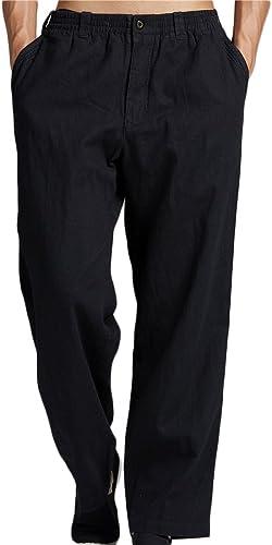 Insun Hommes Pantalon de Loisir en Lin Pantalons légers aérés d'été