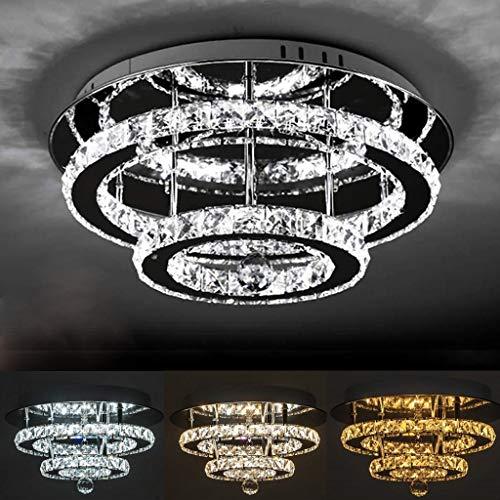 K9 Cristal Luz De Techo LED 36W Moderna Diseño Plafón Acero Regulable...